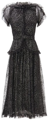 Rodarte Ruffled Flocked-tulle Dress - Black Silver