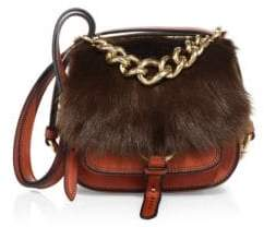 Miu Miu Dahlia Shearling& Leather Saddle Bag
