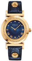 Versace Analog Vanity Goldtone Leather Strap Watch