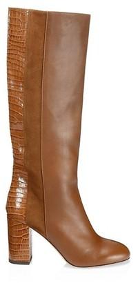Aquazzura Eaton Knee-High Croc-Embossed Leather & Suede Boots