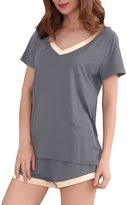GYS Women's Bamboo Sleepwear Short Sleeve V-Neck Pajama Set with Pj Shorts (XL=US(12-14), )