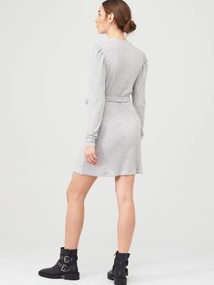 River Island Cosy Jersey Belted Dress - Grey