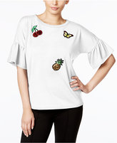NY Collection Bell-Sleeve Patch Top