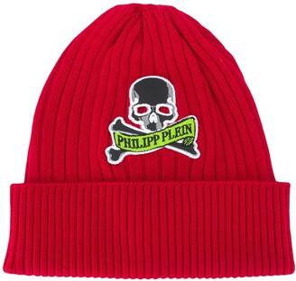 Philipp Plein Logo Embroidered Beanie Hat