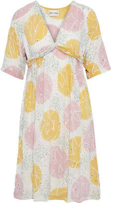 Antik Batik Shinny Embellished Printed Crepe Dress