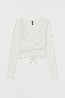 H&M Drawstring Jersey Top - White