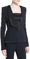 Thierry Mugler Satin-Trim Tuxedo Jacket, Black