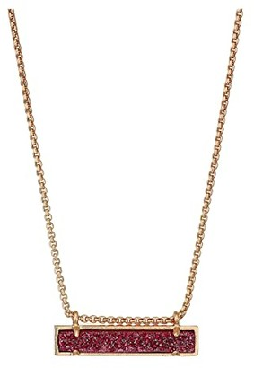 Kendra Scott Leanor Necklace (Deep Fuchsia Drusy/Rose Gold Tone) Necklace