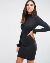 AX Paris High Neck Bodycon Dress With Faux Fur Cuffs