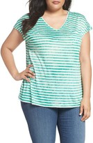 Sejour Plus Size Women's Stripe V-Neck Pocket Tee