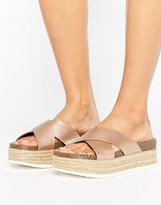 Pull&Bear Cross Over Metallic Wedge Sliders