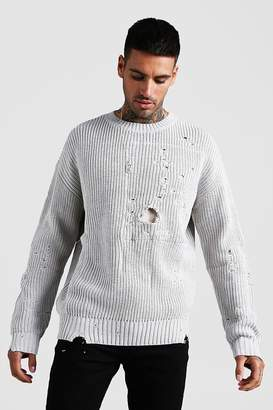 boohoo Chunky Knitted Jumper With Distressing