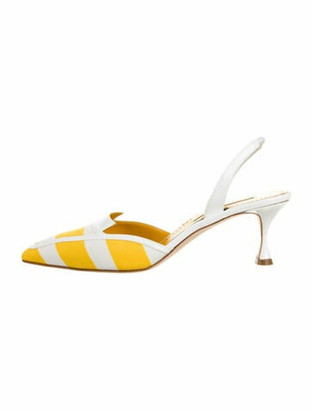 Manolo Blahnik Hosli Striped Slingback Pumps w/ Tags Yellow