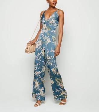 New Look AX Paris Tropical Floral Wide Leg Jumpsuit