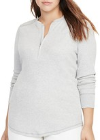 Lauren Ralph Lauren Plus Cotton Half-Zip Shirt