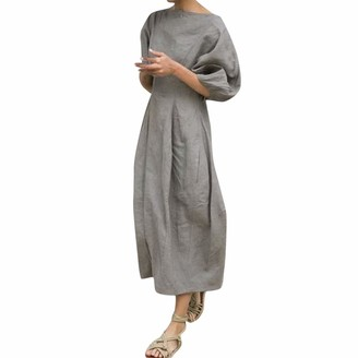 Xmiral Dress Women Half Sleeve Loose Solid Color Ankle-Length Elegant Dresses High Waist A-Line Boat Neck Party Dress(Gray M)
