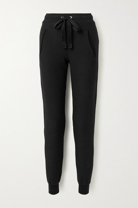 The Range Ripple Ribbed Stretch-cotton Tapered Track Pants - Black
