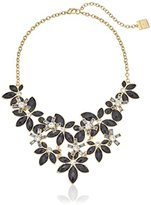 "Anne Klein Holiday Scene"" Gold-Tone Jet Flower Frontal Bib Necklace"