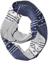 Timberland Women's Diagonal Geometric Birds Eye Pattern Knit Infinity Scarf