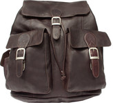 Piel Leather Large Buckle Flap Backpack 9726