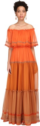 Alberta Ferretti Off-the-shoulder Silk Chiffon Long Dress