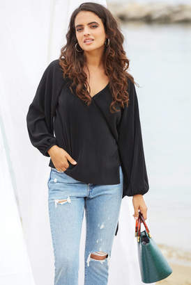 Astr Becca Pleated Wrap Blouse Black XS