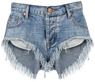 One Teaspoon Venice frayed-hem denim shorts