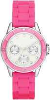 JCPenney FASHION WATCHES Womens Crystal-Accent Multifunction-Look Silicone Strap Watch
