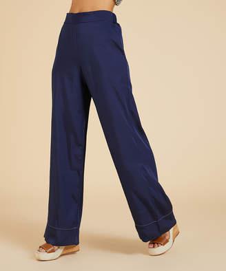 Suzanne Betro Weekend Women's Casual Pants 101NAVY - Navy Wide-Leg Pants - Women