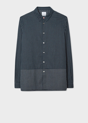 Men's Classic-Fit Navy Woven Check Cotton Shirt With Contrast Panel