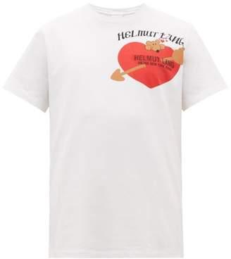 Helmut Lang Valentine Heart And Logo Print Cotton T Shirt - Mens - White
