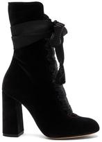 Chloé Velvet Harper Lace Up Boots in Black.