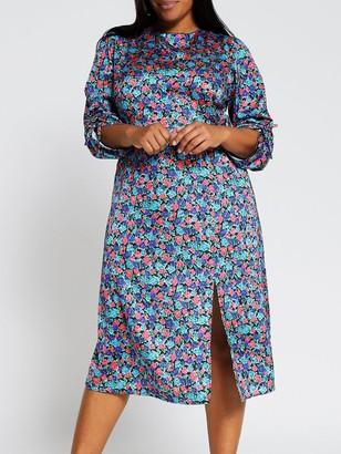 Ri Plus Floral Cowl Neck Tie Sleeve Midi Dress - Blue