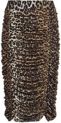 Ganni Ruched Leopard Mesh Skirt