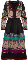 Etro Fringed Embellished Silk-jacquard Midi Dress - Black