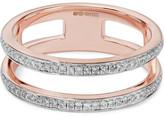 Monica Vinader Skinny Double Band Rose Gold Vermeil Diamond Ring