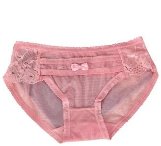 Clode Women's Fashion Lace Panties Briefs Bikini Knickers Underwear Transparent Knickers (Pink)