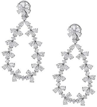 Zydo Unique 18K White Gold & Diamond Open Teardrop Earrings