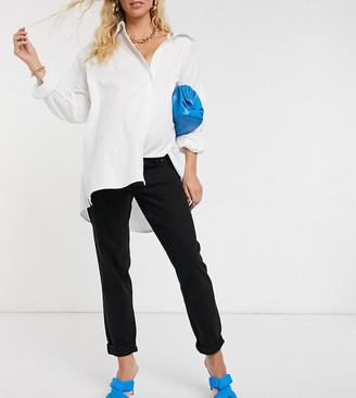 ASOS DESIGN Maternity high rise original mom jeans in black
