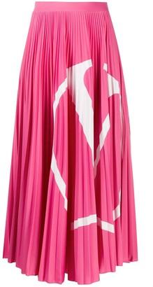 Valentino VLOGO pleated midi skirt