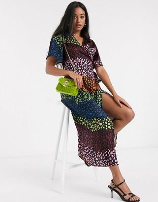 NEVER FULLY DRESSED splice wrap midi dress in contrast leopard print