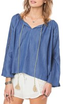 O'Neill 'Mercer' Chambray Peasant Top