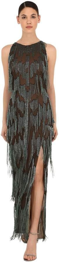 Azzaro Silk Tulle Long Dress W/ Bead Fringes