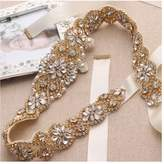 yanstar Bridal Belt for Wedding Dress Crystal Rhinestone Applique Beaded On Wedding Belt Sash