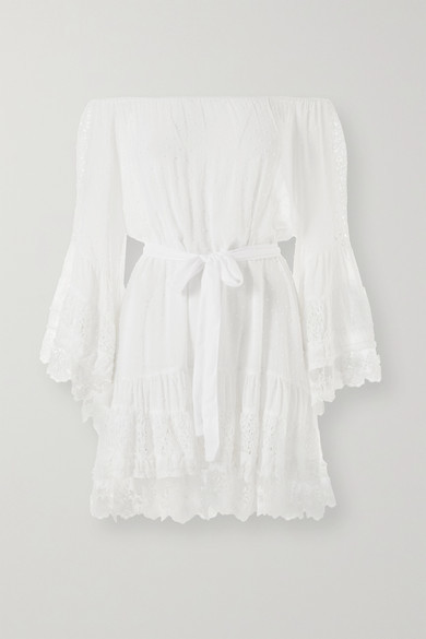 Melissa Odabash Alice Off-the-shoulder Lace And Crochet-trimmed Swiss-dot Chiffon Mini Dress - White