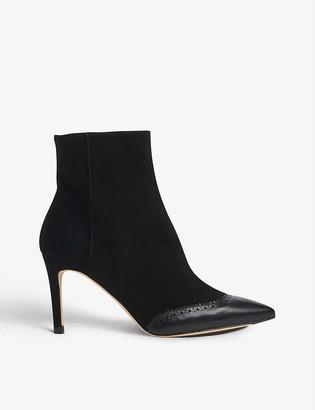 LK Bennett Angelica brogue-toecap suede ankle boots