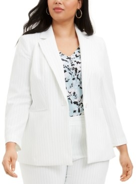 Nine West Plus Size Pinstriped Single-Button Blazer