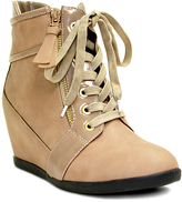 Beige Zip & Lace-Up Wedge Ankle Boot