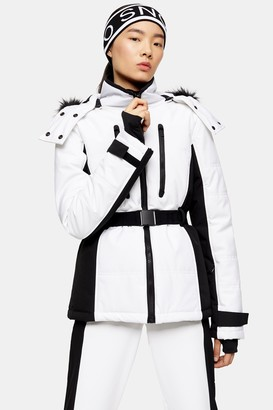 Topshop White and Black Color Block Ski Jacket by SNO