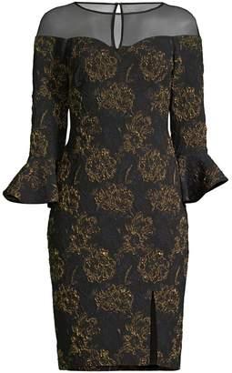 Aidan Mattox Jacquard Floral Illusion Sheath Dress
